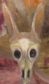 Oil painting cameo of jackalope skull