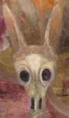Oil painting cameo of jackalope skull