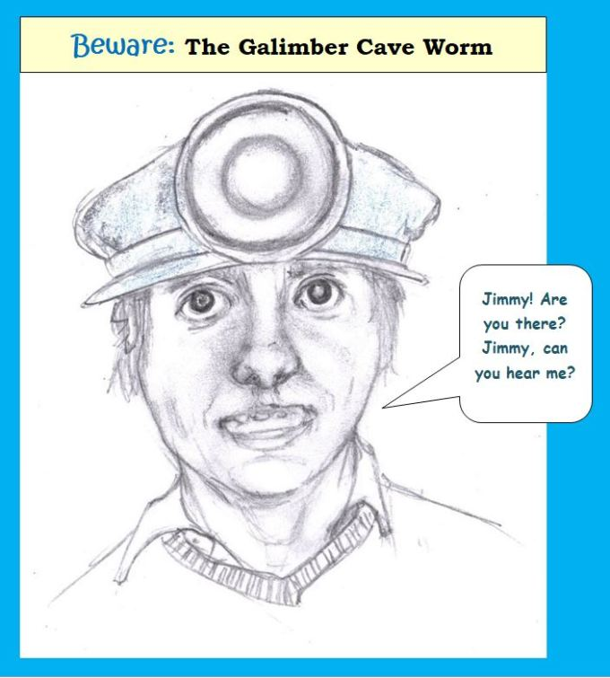 Cartoon of man in miner's hat calling for friend