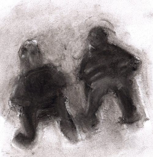 Pastel drawing of two figures seated