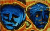Oil painting cameos of male and female blue masks