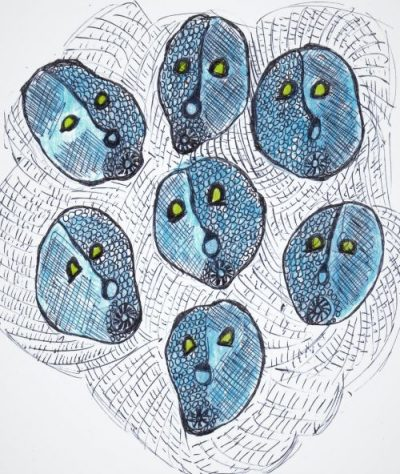 Ink drawing of blue mask-like faces