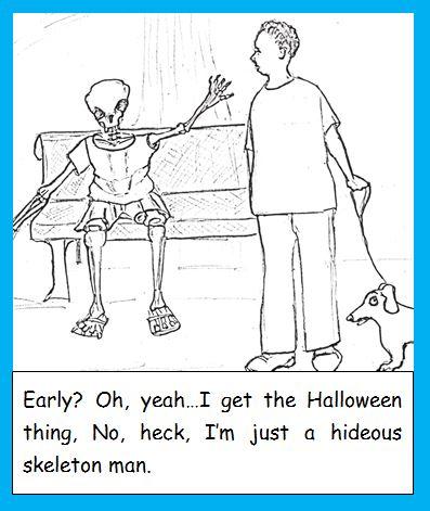 Cartoon of skeleton man