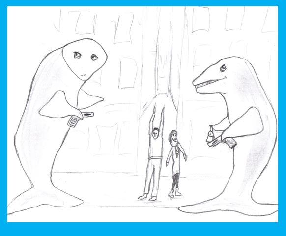 Cartoon of whales robbing people on street