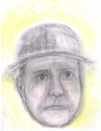 Charcoal and pastel drawing of man wearing bowler and looking consternated