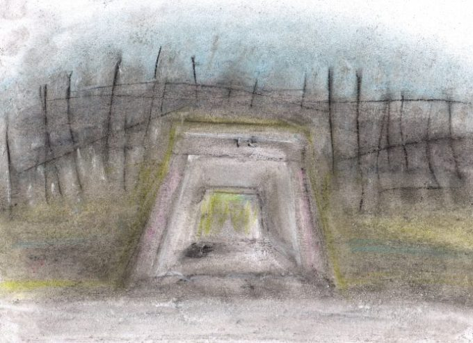 Pastel drawing of culvert with body