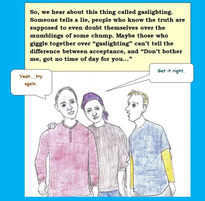 Cartoon of conversation on gaslighting