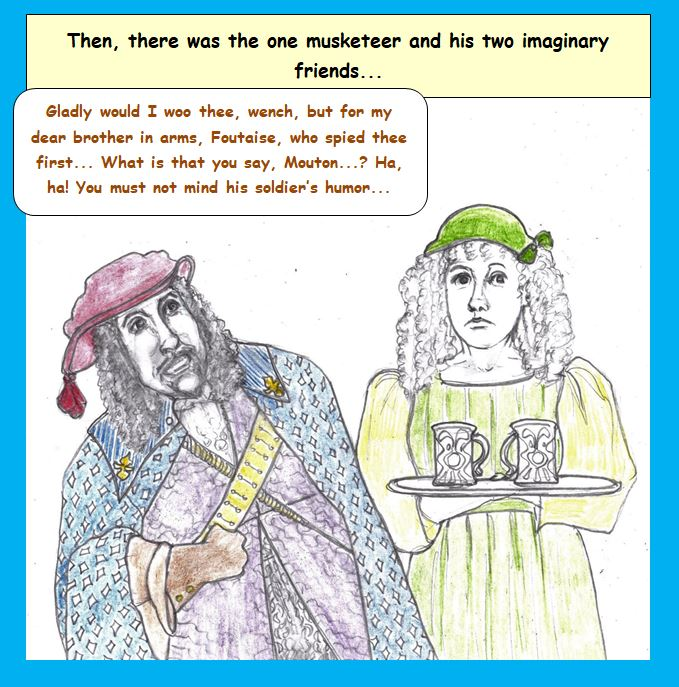 Cartoon of musketeer and serving girl