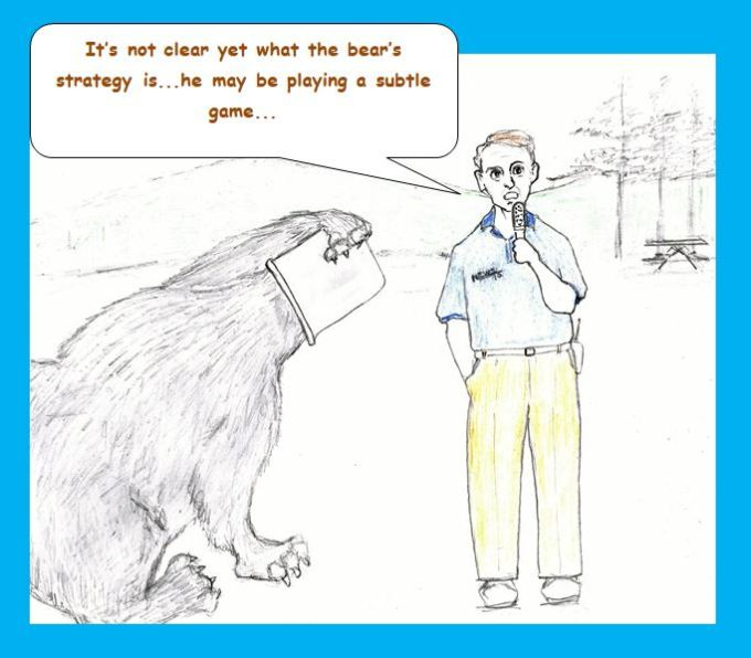 Cartoon of reporter and bear