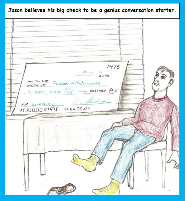 Cartoon of man with big check