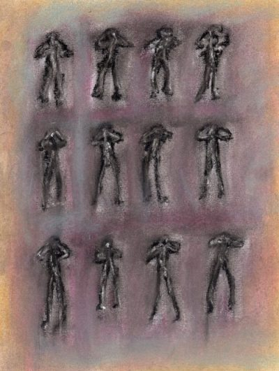 Pastel drawing of posing figures against red background