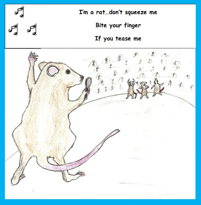 Cartoon of performing rat