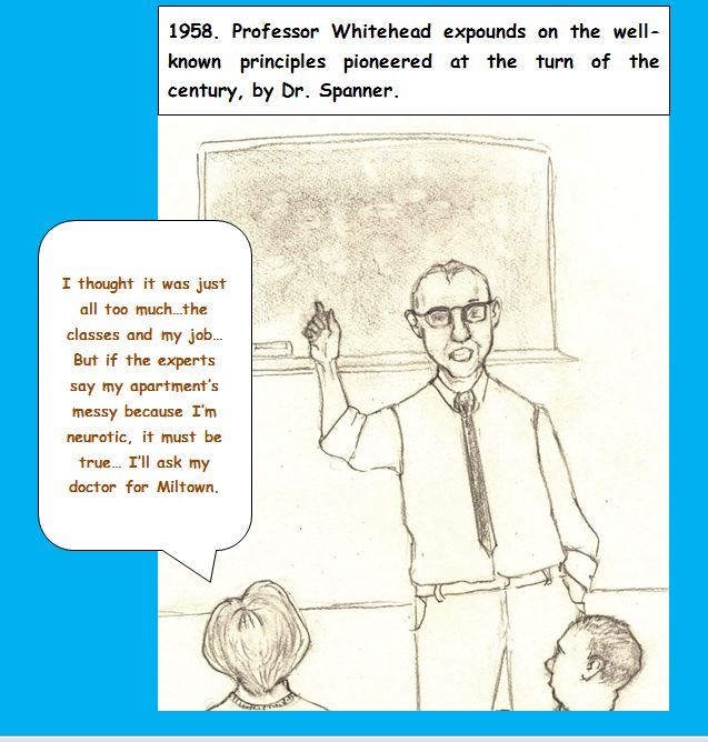 Cartoon of professor at blackboard