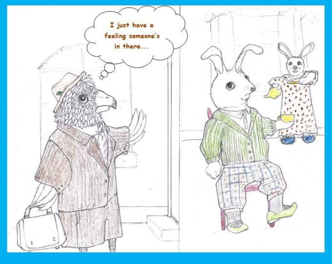 Cartoon of hawk selling insurance to rabbits