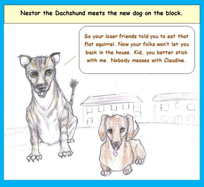 Cartoon of hyena and dachshund