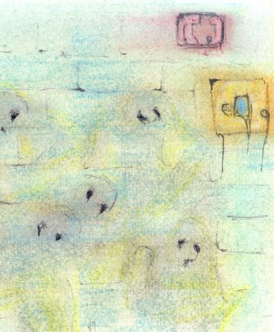 Pastel drawing of wall with human images
