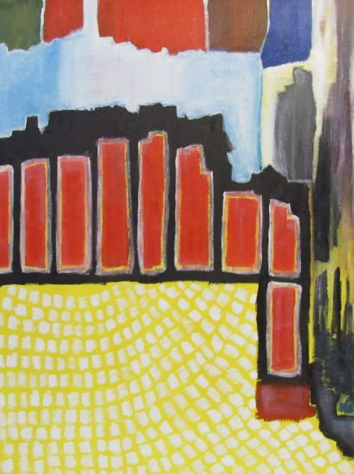 Oil painting of city square in abstract style