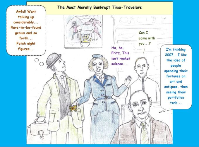 Cartoon of time traveling looters