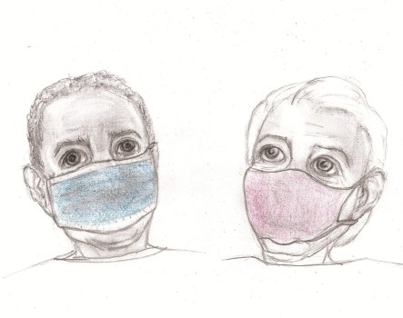 Pencil drawing of man and woman wearing masks