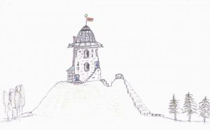 Pencil drawing of folly on hilltop