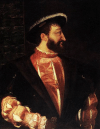 Detail of oil painting by Titian, of Francois the First, 1539