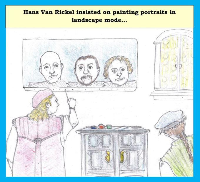 Cartoon of old master painter