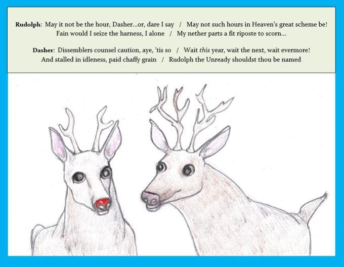 Cartoon of Rudolph the reindeer speaking to another reindeer
