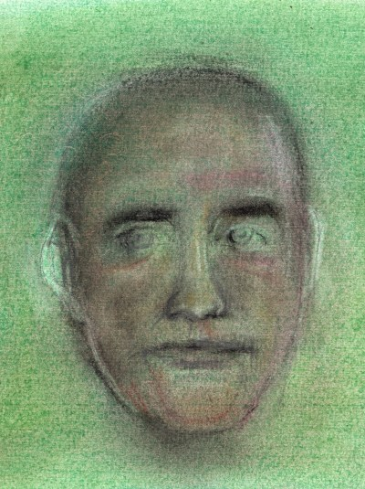 Pencil and pastel drawing of man's face