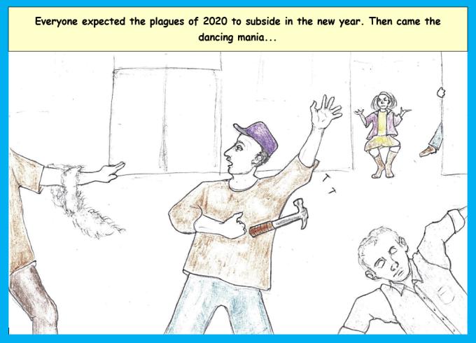 Cartoon of office full of dancing people