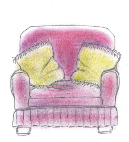 Pastel and pencil drawing of sad-looking armchair