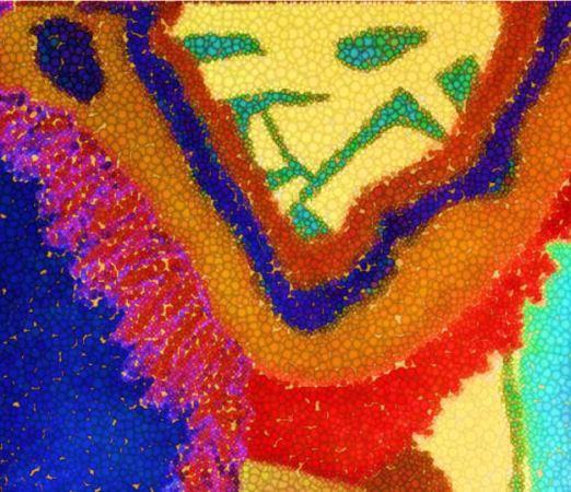 Digital art of cat-like face