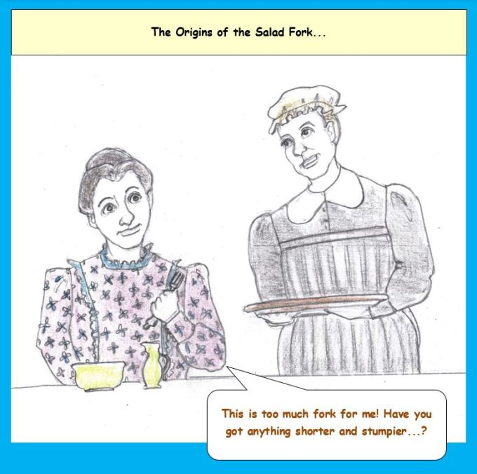 Cartoon of 19th century woman being served at the table