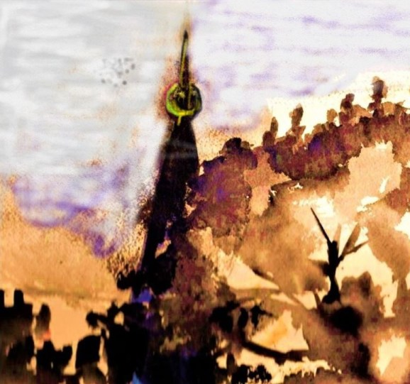 Watercolor and digital image of tower and hill