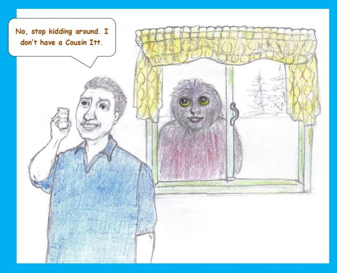 Cartoon of man taking on phone while furry creature looks in window