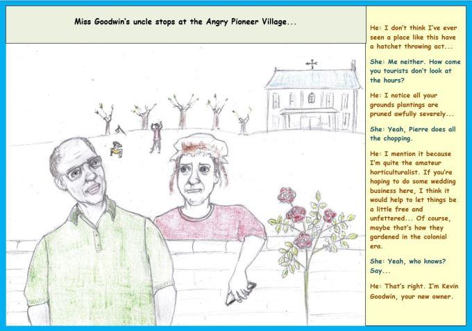 Cartoon of man and woman talking over garden wall