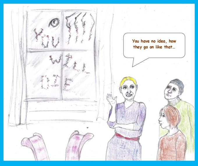 Cartoon of woman with friends in haunted house