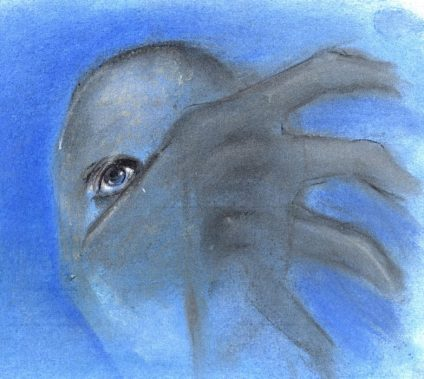 Pastel and ink drawing of blue face and grey hand