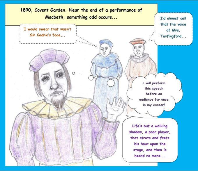 Cartoon of woman playing Macbeth