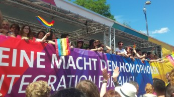 """""""no power for the homophobes - integration for everyone"""" SPD, a political party"""