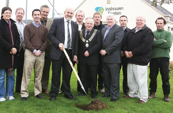 Turning the sod on the new Amazing Grace Park, which is set to open in Buncrana early next year.