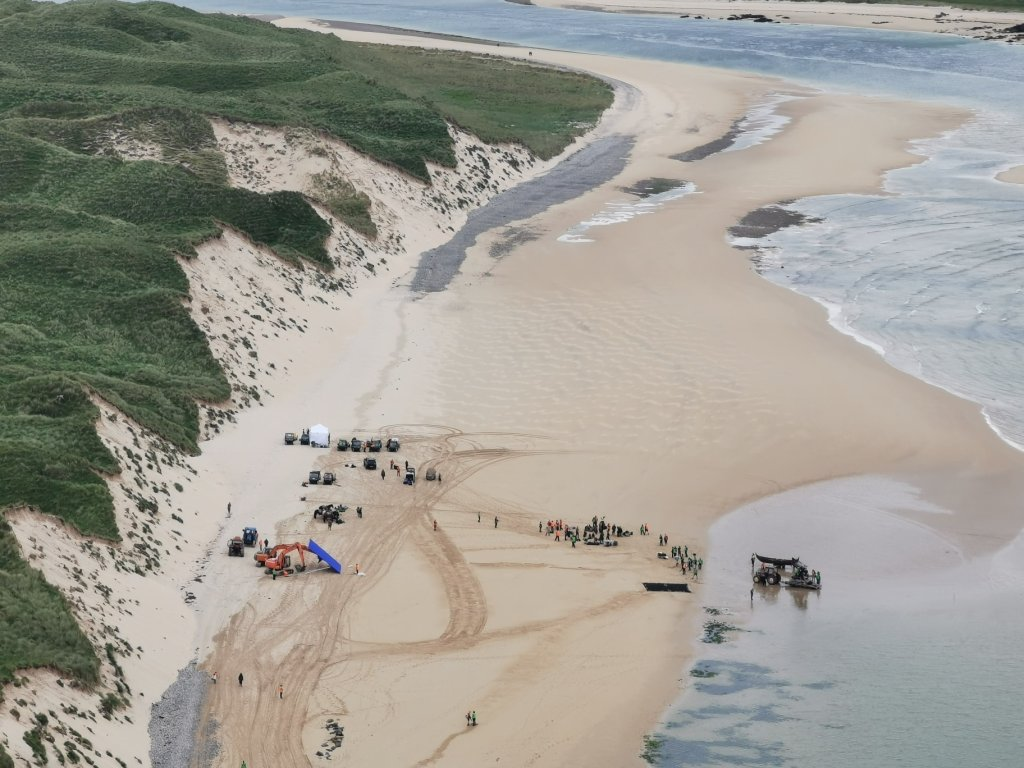 An elevated view of the filming on Five Fingers Strand. Photo courtesy of Ali Farren