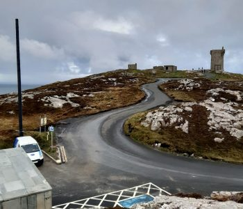 The controversial new wifi mast at Malin Head.