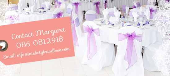 wedding chair sash accessories side chairs with arms covers donegal inish style bow transform your venue top quality and colour co ordinated sashes our are beautifully maintained will be set up to
