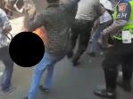 polisi terbakar