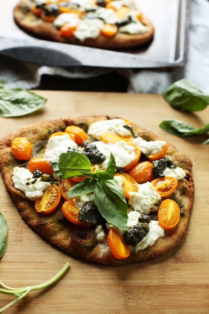 Pesto and Ricotta Naan Pizza
