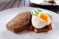 Egg bread with soft boiled egg