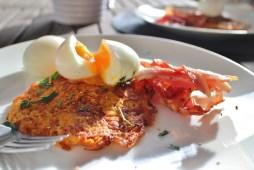 Sweet potato rosti & slow cooked eggs