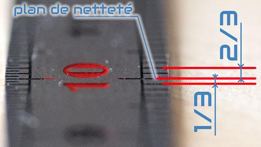 Illustration de la répartition 1/3 et 2/3 de la profondeur de champ par rapport au plan de mise au point.