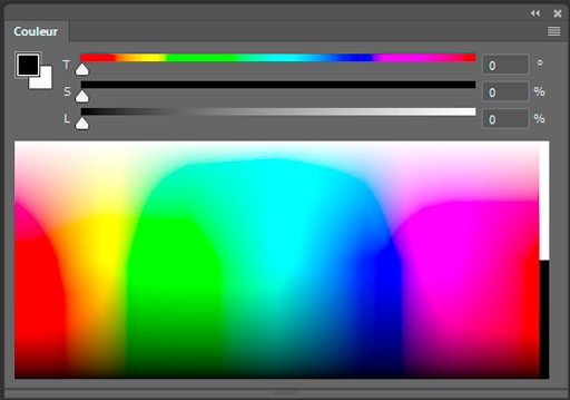 Exemple de palette d'outil de Photoshop : la palette de couleur