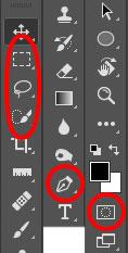 Mise en évidence des outils de sélection dans la palette d'outils de Photoshop CC